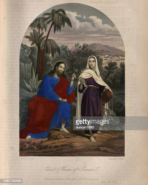 jesus christ and the woman of samaria - new testament stock illustrations