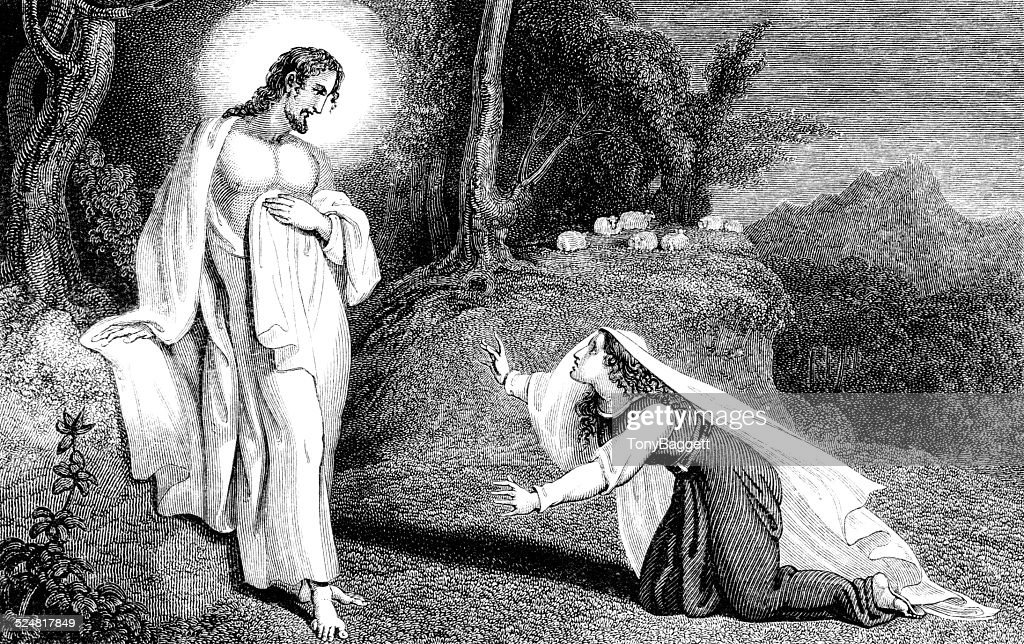 Jesus Christ Appearing To Mary Magdalene : Stock Illustration