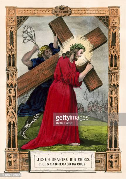 jesus christ bearing his cross - stations of the cross stock illustrations