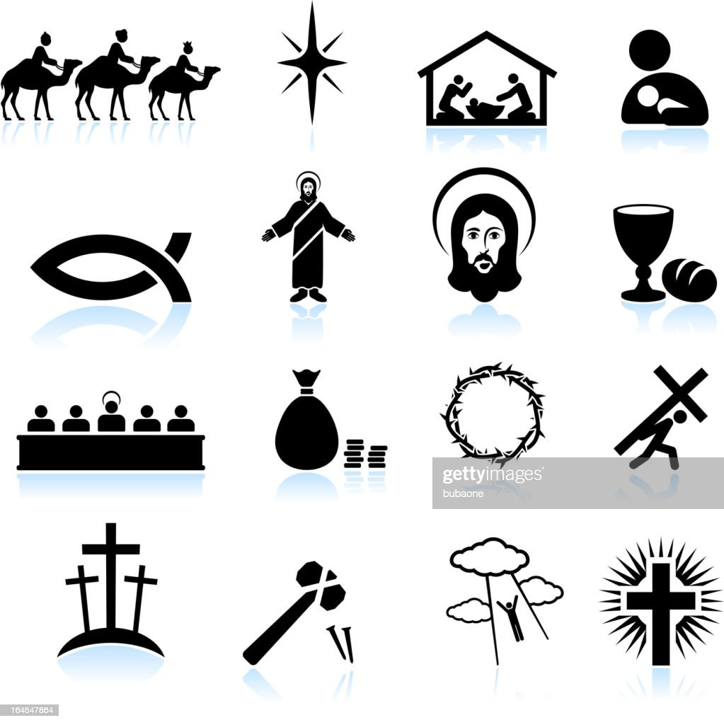 Jesus Christ black and white royalty free vector icon set : stock illustration
