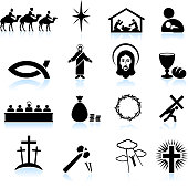 Jesus Christ black and white royalty free vector icon set