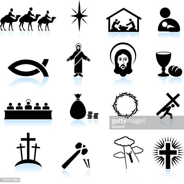 jesus christ black and white royalty free vector icon set - jesus stock illustrations, clip art, cartoons, & icons
