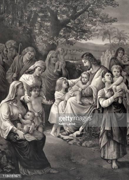 stockillustraties, clipart, cartoons en iconen met jezus christus zegent de kinderen - gelovige