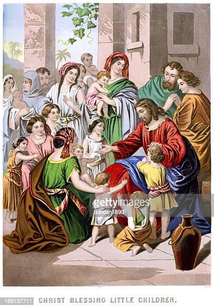 jesus christ blessing the little children - jesus christ stock illustrations, clip art, cartoons, & icons