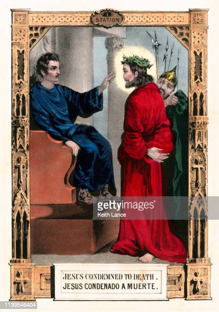 jesus christ condemned to death - stations of the cross stock illustrations