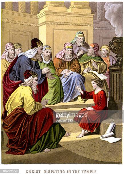 jesus christ disputing in the temple - synagogue stock illustrations