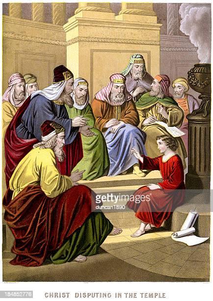 bildbanksillustrationer, clip art samt tecknat material och ikoner med jesus christ disputing in the temple - synagoga