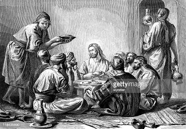 jesus christ eats with sinners - jesus christ stock illustrations