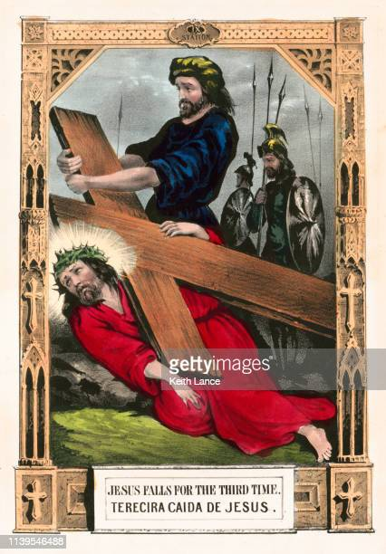 jesus christ falls for a third time - stations of the cross stock illustrations