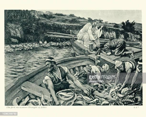 jesus christus, erste wunder luftzug der fische - james tissot stock-grafiken, -clipart, -cartoons und -symbole