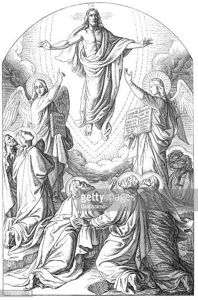 jesus christ floating in the air - biblical event stock illustrations
