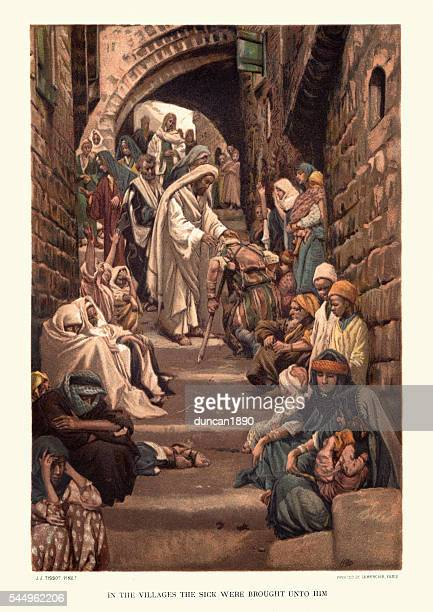 jesus christ healing the sick - jesus christ stock illustrations, clip art, cartoons, & icons
