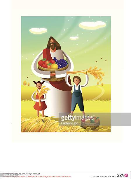 Jesus Christ holding a basket of fruits with a boy and a girl standing in front of him