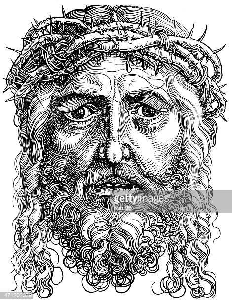 ilustraciones, imágenes clip art, dibujos animados e iconos de stock de jesucristo - corona de espinas