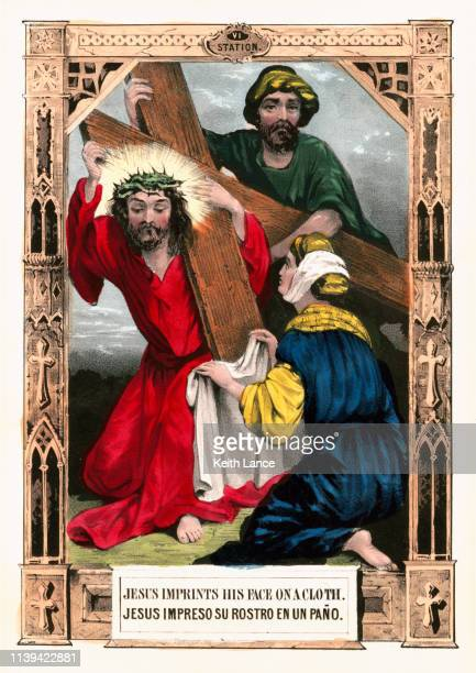 jesus christ imprints on the cloth - stations of the cross stock illustrations
