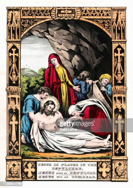jesus christ is placed in the tomb - religious text stock illustrations