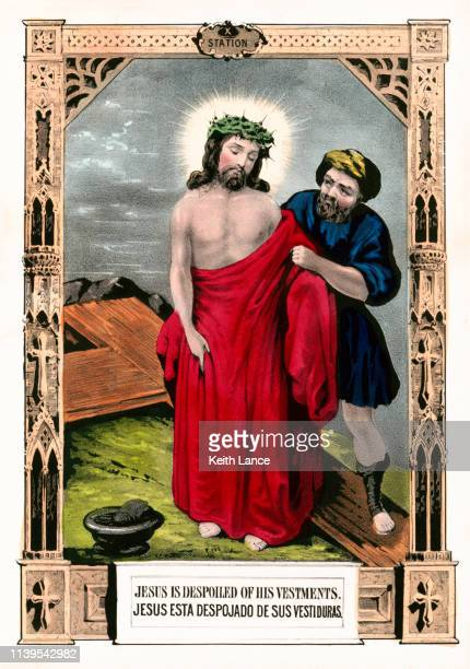 jesus christ is stripped of his clothes - stations of the cross stock illustrations