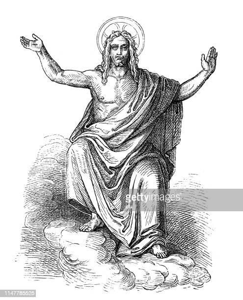 stockillustraties, clipart, cartoons en iconen met jesus-christus, laatste oordeel, door peter van cornelius - menselijke arm