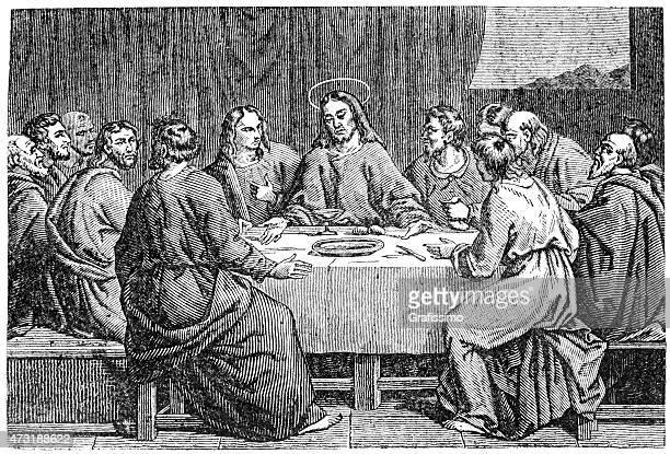Jesus Christ last supper with apostles