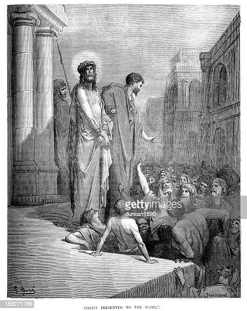 jesus christ presented to the crowd - gustave dore stock illustrations, clip art, cartoons, & icons