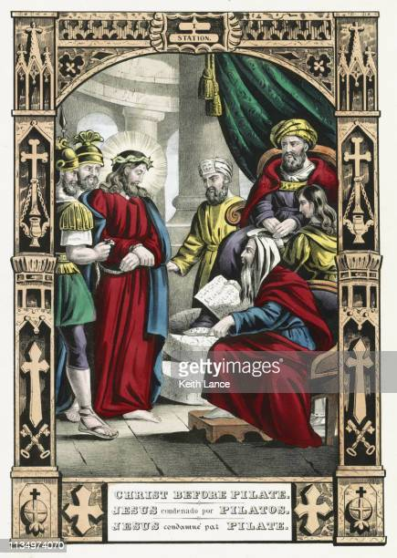 jesus christ stands before pontius pilate - good friday stock illustrations