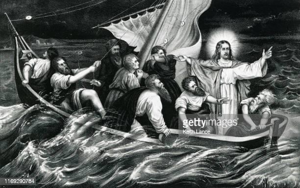 jesus christ stills the tempest - new testament stock illustrations
