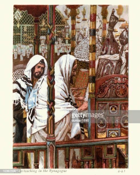 jesus christus lehrt in der synagoge - james tissot stock-grafiken, -clipart, -cartoons und -symbole