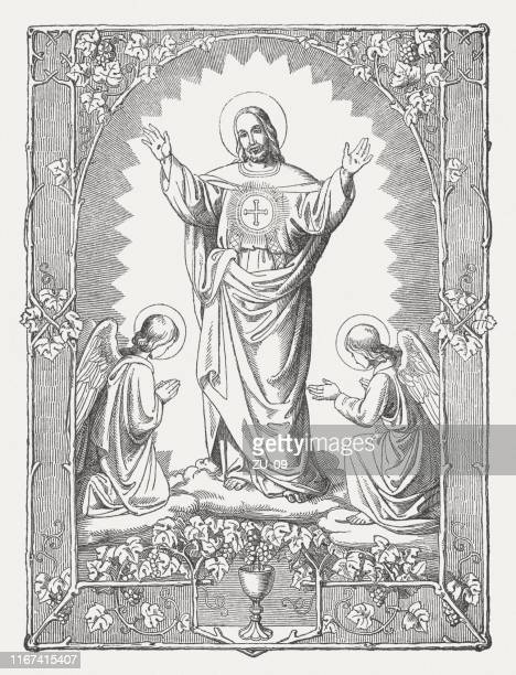 jesus christ the redeemer, wood engraving, published in 1850 - biblical event stock illustrations