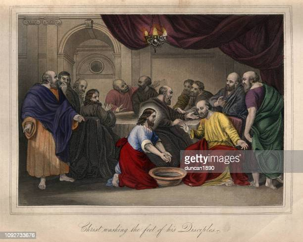 jesus christ washing the feet of his disciples - foot worship stock illustrations