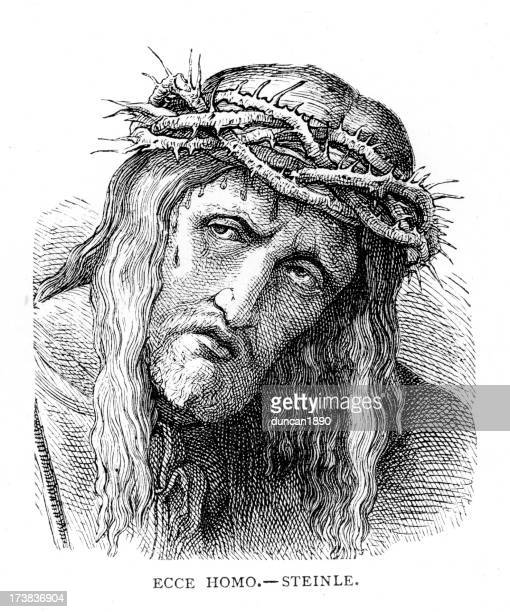 jesus christ with crown of thorns - prayer book stock illustrations