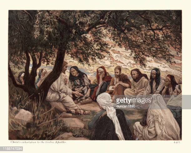 jesus christ's exhortation to the twelve apostles - christianity stock illustrations
