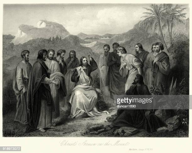 jesus christ's sermon on the mount - jesus christ stock illustrations