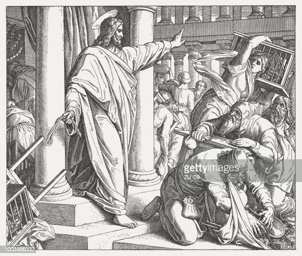 jesus cleanses the temple (luke 19,45-48), wood engraving, published 1890 - synagogue stock illustrations