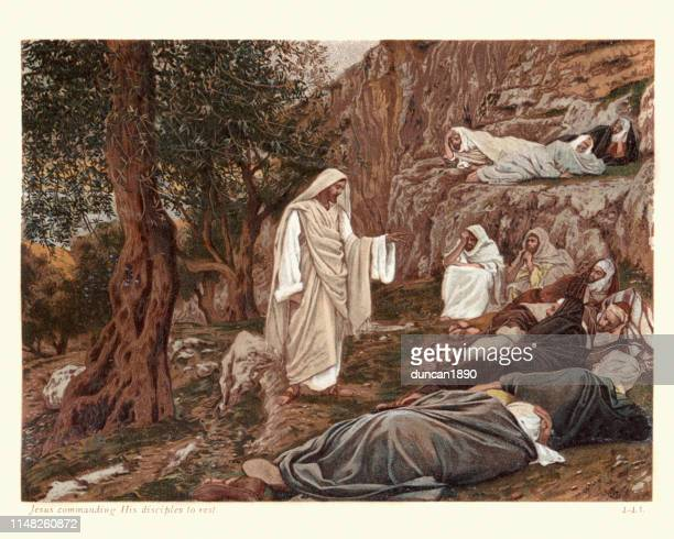 ilustrações de stock, clip art, desenhos animados e ícones de jesus commanding his disciples to rest - jesus cristo