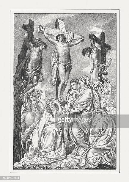 Jesus' crucifixion, lithograph, published in 1850