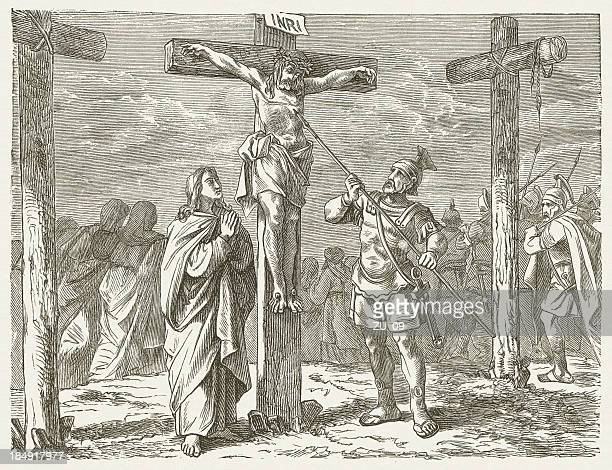 jesus' crucifixion (john, 19, 33-34), wood engraving, published in 1877 - holy week stock illustrations, clip art, cartoons, & icons