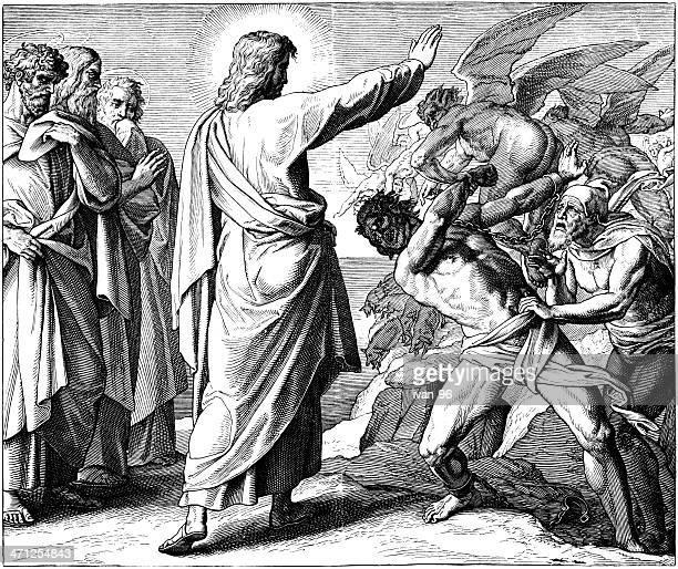 jesus drives out a demon - jesus christ stock illustrations, clip art, cartoons, & icons