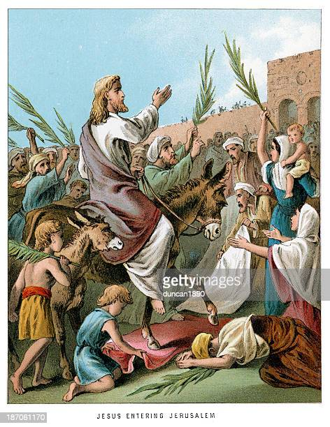 jesus entering jerusalem - jesus christ stock illustrations, clip art, cartoons, & icons