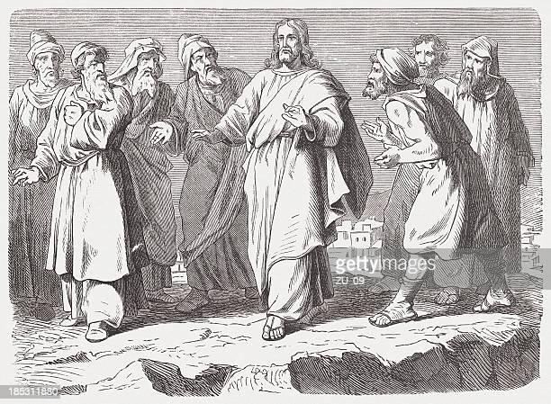 jesus escapes his foes (luke 4, 29-30), published in 1877 - new testament stock illustrations