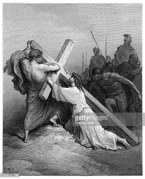 jesus falling beneath the cross engraving 1870 - the crucifixion stock illustrations, clip art, cartoons, & icons