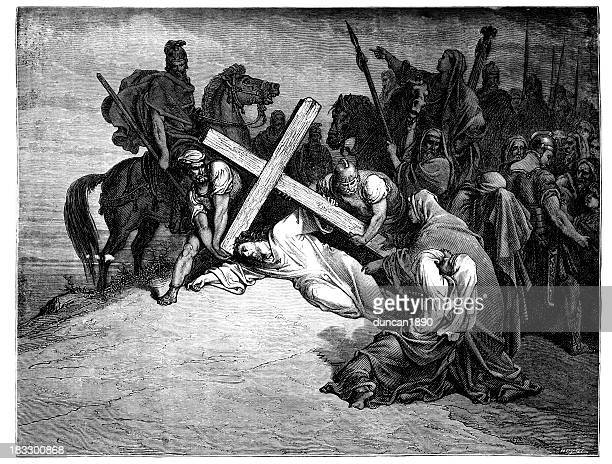 jesus falling with the cross - the crucifixion stock illustrations, clip art, cartoons, & icons