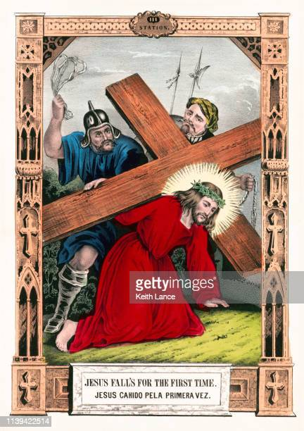 jesus falls for the first time - stations of the cross stock illustrations