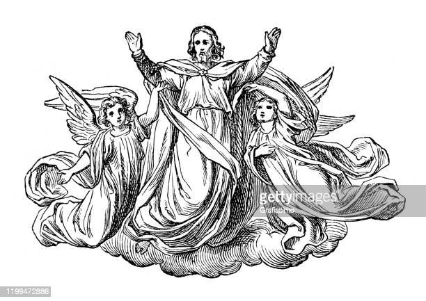 jesus flying with angels arms raised - biblical event stock illustrations