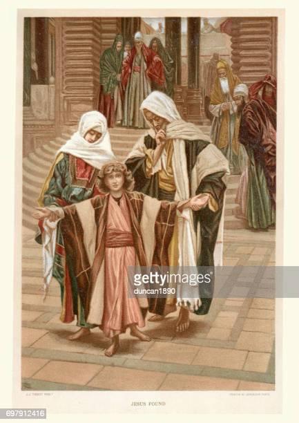 illustrazioni stock, clip art, cartoni animati e icone di tendenza di jesus found at the temple - san giuseppe