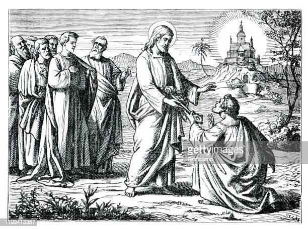 jesus giving peter the key of the kingdoms heaven illustration 1882 - biblical event stock illustrations