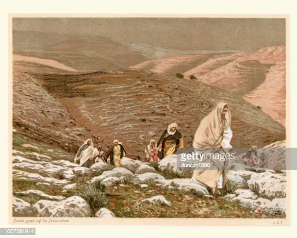 jesus geht nach jerusalem - james tissot stock-grafiken, -clipart, -cartoons und -symbole