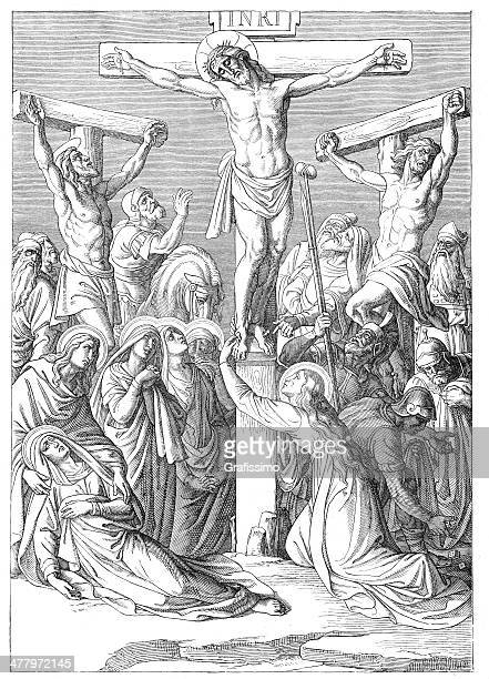 jesus hanging on the cross crucifixion - stations of the cross stock illustrations