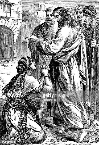jesus healing the lepers - leprosy stock illustrations