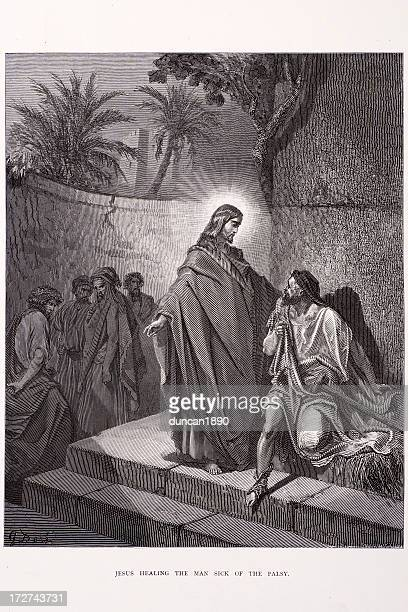 jesus healing the sick man - penitente people stock illustrations, clip art, cartoons, & icons