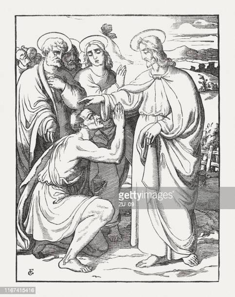 jesus heals a blind man near jericho (luke 18, 35-42) - biblical event stock illustrations